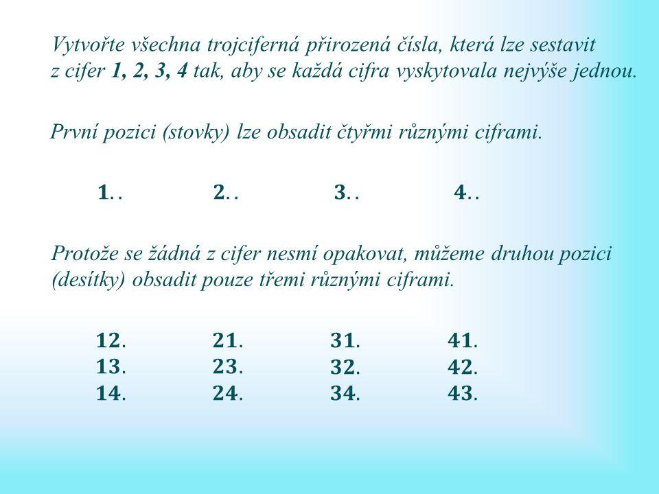 Vytvořte všechna trojciferná přirozená čísla, která lze sestavit z cifer 1, 2, 3, 4 tak, aby se každá cifra vyskytovala nejvýše jednou.