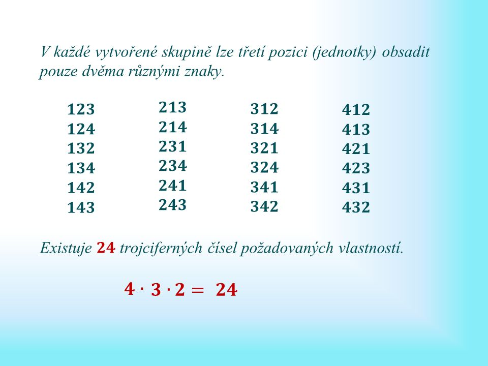 Uspořádaná k-tice znamená, že záleží na pořadí prvků. U úvodní úlohy je tato vlastnost dobře vidět.