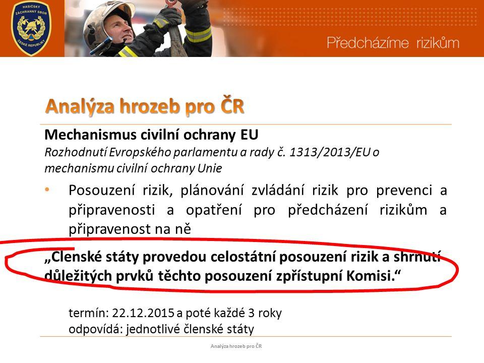 Mechanismus civilní ochrany EU Rozhodnutí Evropského parlamentu a rady č.