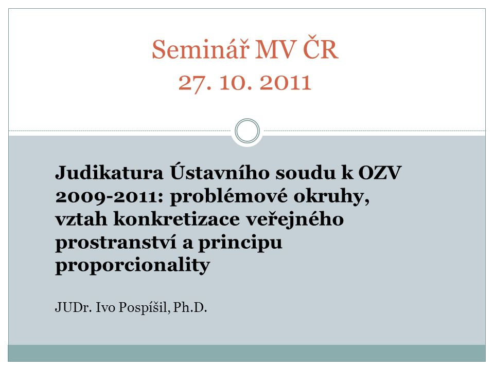 Seminář MV ČR 27. 10.