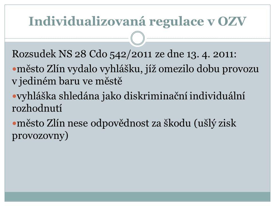 Individualizovaná regulace v OZV Rozsudek NS 28 Cdo 542/2011 ze dne 13.