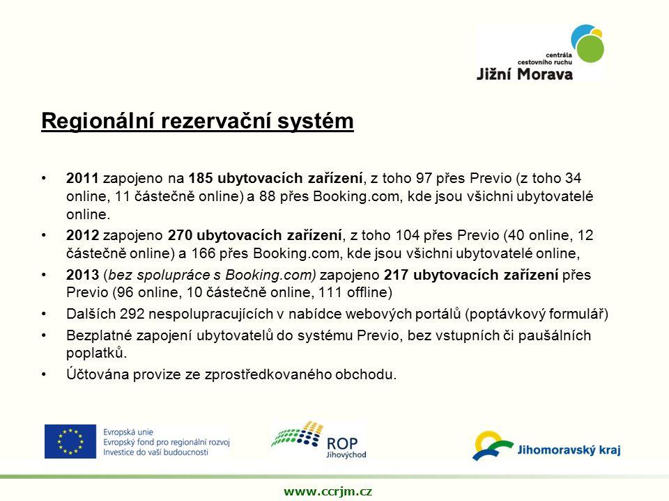 Regionální rezervační systém 2011 zapojeno na 185 ubytovacích zařízení, z toho 97 přes Previo (z toho 34 online, 11 částečně online) a 88 přes Booking.com, kde jsou všichni ubytovatelé online.