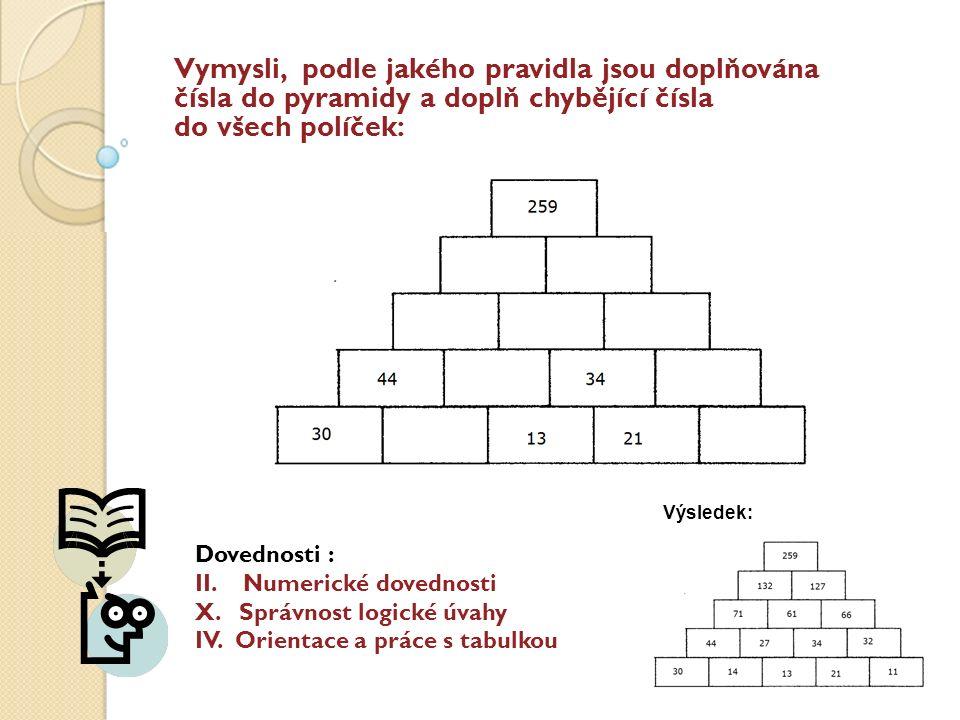 Vymysli, podle jakého pravidla jsou doplňována čísla do pyramidy a doplň chybějící čísla do všech políček: Dovednosti : II.Numerické dovednosti X.