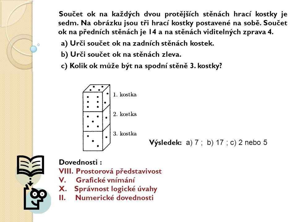 Součet ok na každých dvou protějších stěnách hrací kostky je sedm.