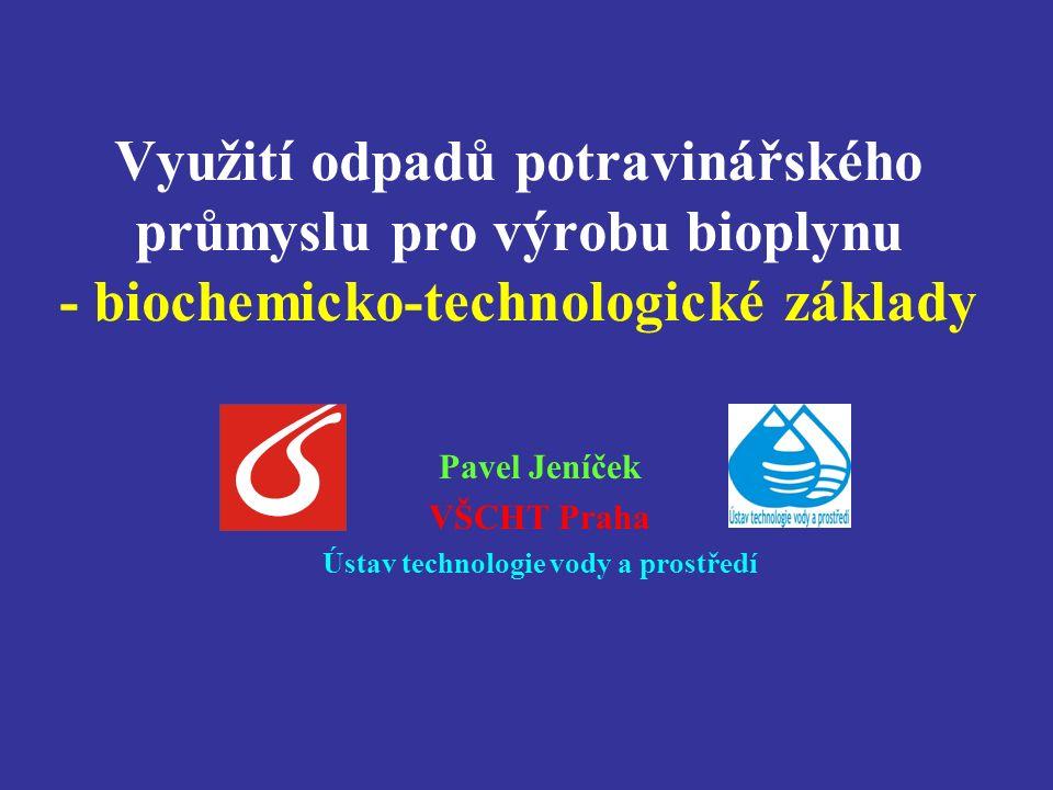 Využití odpadů potravinářského průmyslu pro výrobu bioplynu - biochemicko-technologické základy Pavel Jeníček VŠCHT Praha Ústav technologie vody a prostředí