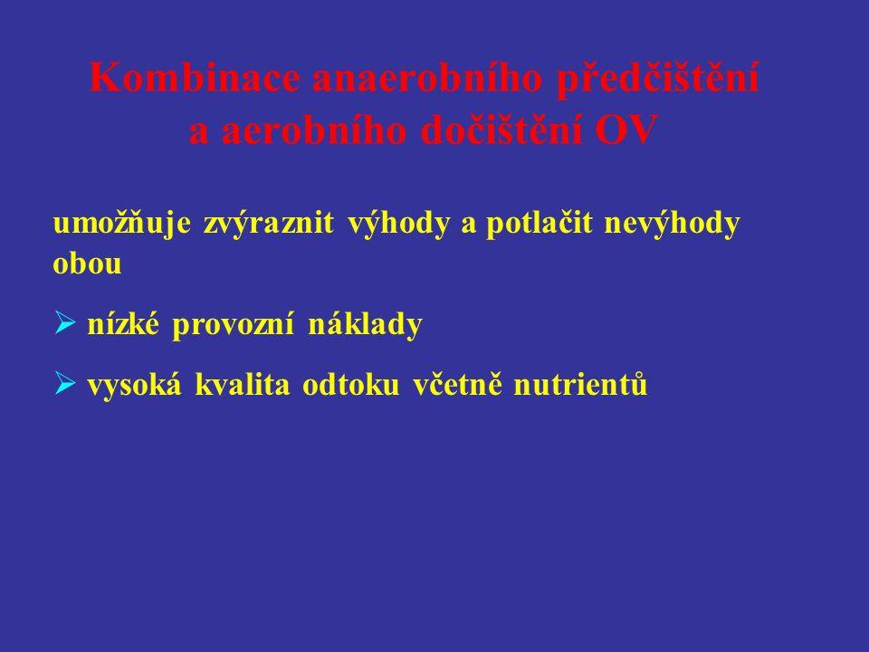 Kombinace anaerobního předčištění a aerobního dočištění OV umožňuje zvýraznit výhody a potlačit nevýhody obou  nízké provozní náklady  vysoká kvalita odtoku včetně nutrientů