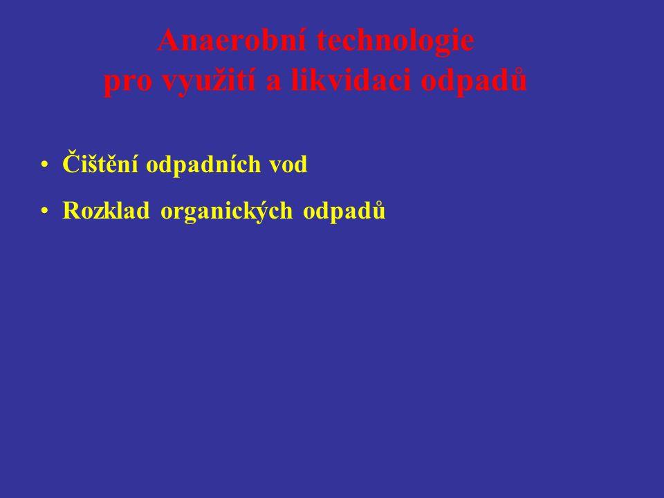 Biologické procesy v technologiích pro využití a likvidaci odpadů Oxická zóna Anoxická zóna Anaerobní zóna ORP* (mV) 0 +50 -50 Denitrifikace Anoxická oxidace Oxická oxidace Nitrifikace Depolymerace fosfátů Desulfatace Acidogeneze Acetogeneze Methanogeneze * ORP měřený proti nejčastěji používané chloridostříbrné elektrodě, standardní je ORP H měřený proti vodíkové elektrodě (tzn.