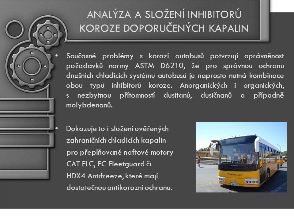 ANALÝZA A SLOŽENÍ INHIBITORŮ KOROZE DOPORUČENÝCH KAPALIN Současné problémy s korozí autobusů potvrzují oprávněnost požadavků normy ASTM D6210, že pro správnou ochranu dnešních chladicích systému autobusů je naprosto nutná kombinace obou typů inhibitorů koroze.