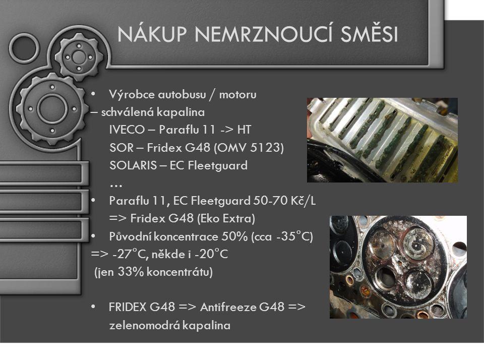 NÁKUP NEMRZNOUCÍ SMĚSI Výrobce autobusu / motoru – schválená kapalina IVECO – Paraflu 11 -> HT SOR – Fridex G48 (OMV 5123) SOLARIS – EC Fleetguard … Paraflu 11, EC Fleetguard 50-70 Kč/L => Fridex G48 (Eko Extra) Původní koncentrace 50% (cca -35°C) => -27°C, někde i -20°C (jen 33% koncentrátu) FRIDEX G48 => Antifreeze G48 => zelenomodrá kapalina