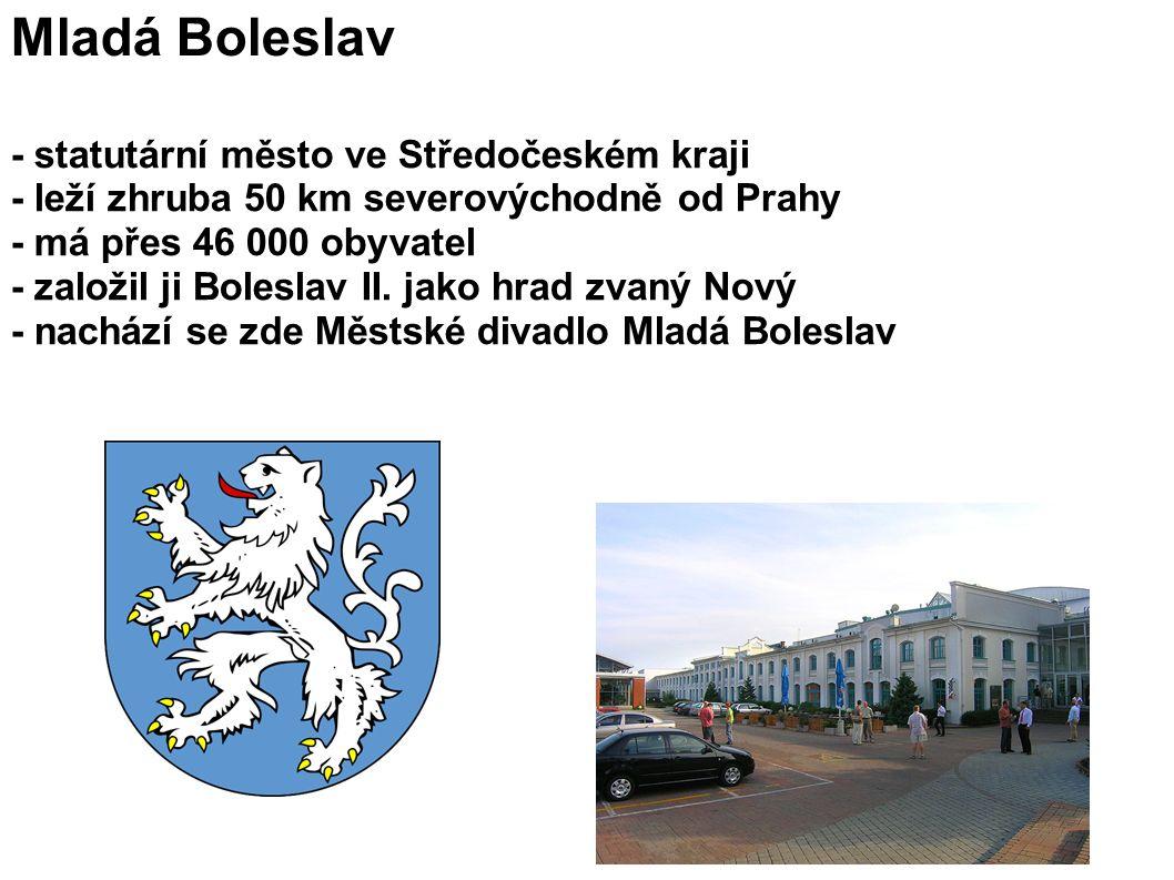 Mladá Boleslav - statutární město ve Středočeském kraji - leží zhruba 50 km severovýchodně od Prahy - má přes 46 000 obyvatel - založil ji Boleslav II.