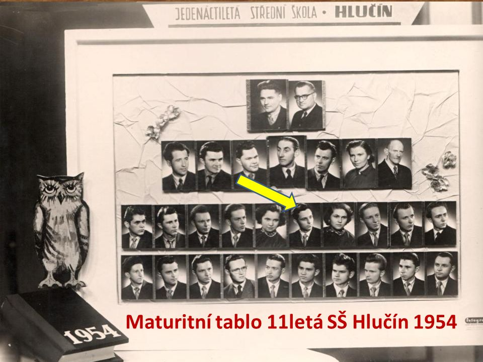 Maturitní tablo 11letá SŠ Hlučín 1954
