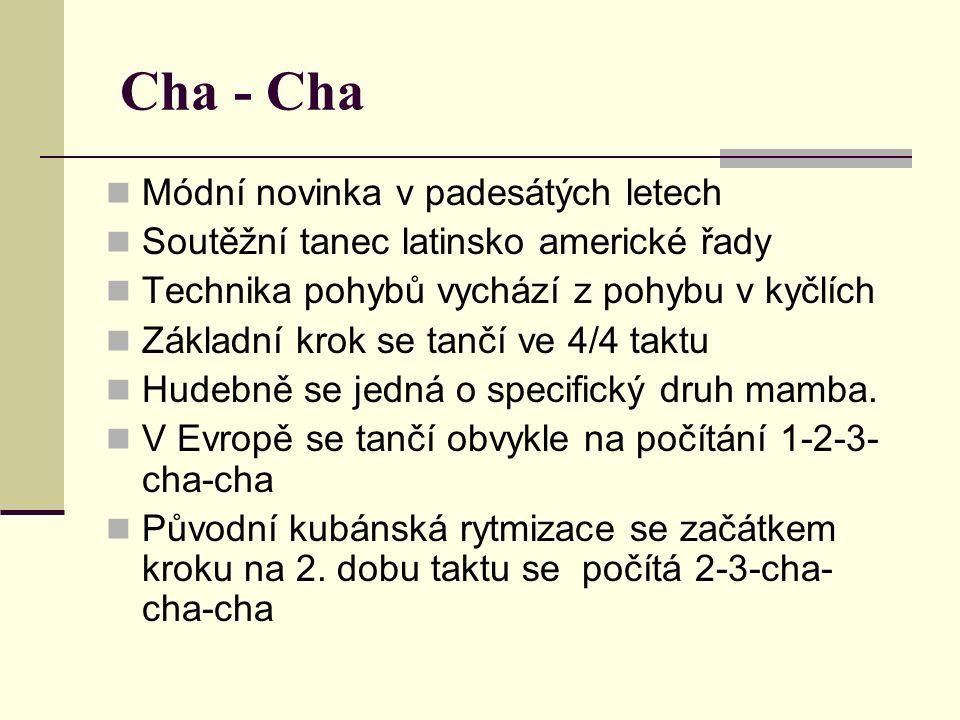 Cha - Cha Módní novinka v padesátých letech Soutěžní tanec latinsko americké řady Technika pohybů vychází z pohybu v kyčlích Základní krok se tančí ve 4/4 taktu Hudebně se jedná o specifický druh mamba.