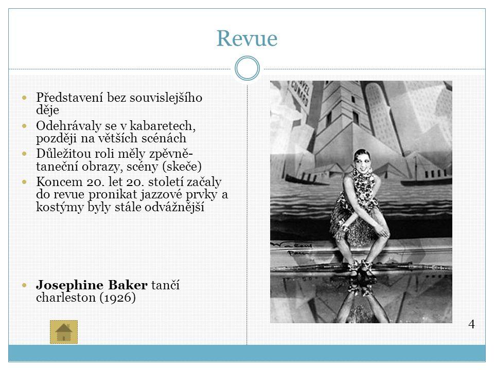 Revue Představení bez souvislejšího děje Odehrávaly se v kabaretech, později na větších scénách Důležitou roli měly zpěvně- taneční obrazy, scény (skeče) Koncem 20.