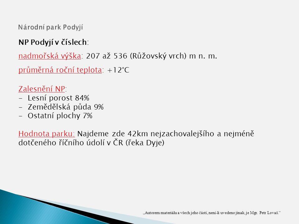 """""""Autorem materiálu a všech jeho částí, není-li uvedeno jinak, je Mgr. Petr Lovaš."""" NP Podyjí v číslech: nadmořská výška: 207 až 536 (Růžovský vrch) m"""