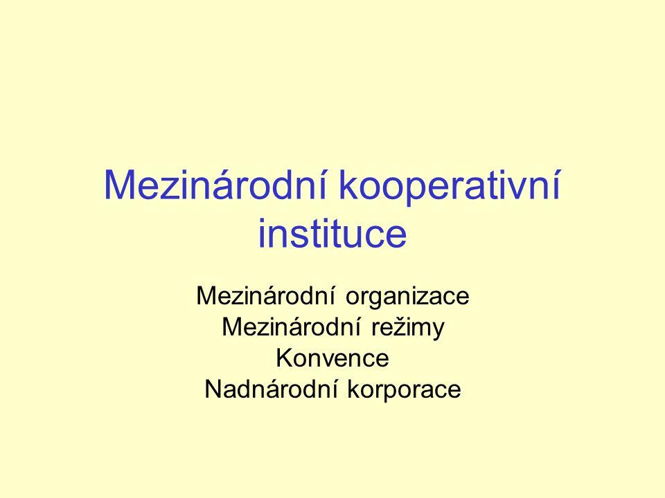 Mezinárodní kooperativní instituce Mezinárodní organizace Mezinárodní režimy Konvence Nadnárodní korporace