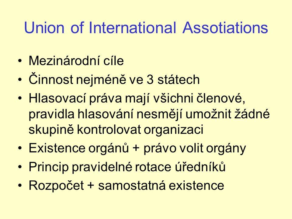 Union of International Assotiations Mezinárodní cíle Činnost nejméně ve 3 státech Hlasovací práva mají všichni členové, pravidla hlasování nesmějí umožnit žádné skupině kontrolovat organizaci Existence orgánů + právo volit orgány Princip pravidelné rotace úředníků Rozpočet + samostatná existence