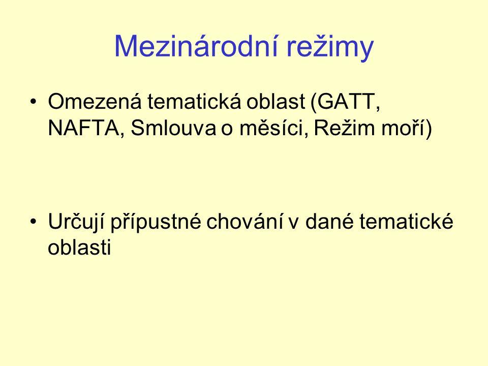 Mezinárodní režimy Omezená tematická oblast (GATT, NAFTA, Smlouva o měsíci, Režim moří) Určují přípustné chování v dané tematické oblasti