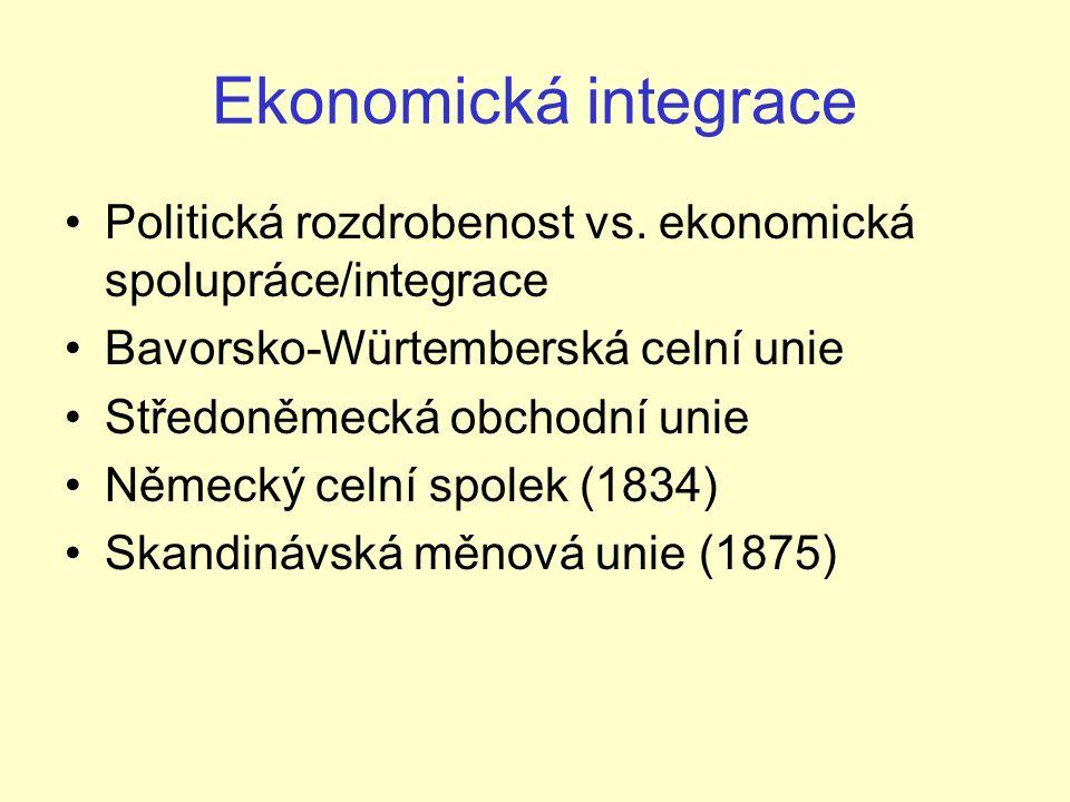 Ekonomická integrace Politická rozdrobenost vs.