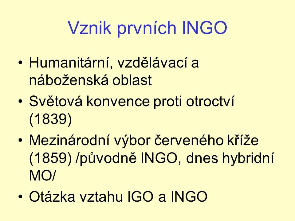 Vznik prvních INGO Humanitární, vzdělávací a náboženská oblast Světová konvence proti otroctví (1839) Mezinárodní výbor červeného kříže (1859) /původně INGO, dnes hybridní MO/ Otázka vztahu IGO a INGO