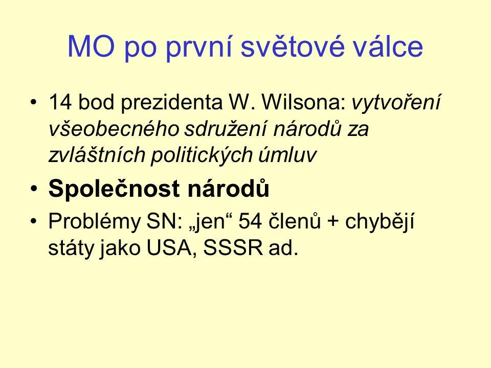 MO po první světové válce 14 bod prezidenta W.