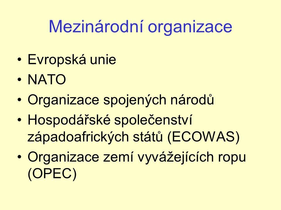 Mezinárodní organizace Evropská unie NATO Organizace spojených národů Hospodářské společenství západoafrických států (ECOWAS) Organizace zemí vyvážejících ropu (OPEC)