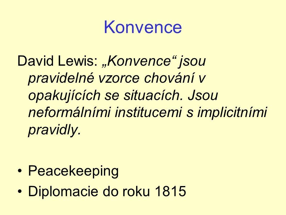 """Konvence David Lewis: """"Konvence jsou pravidelné vzorce chování v opakujících se situacích."""