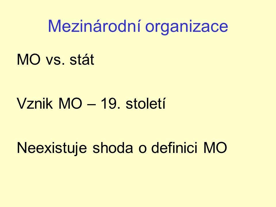 Mezinárodní organizace MO vs. stát Vznik MO – 19. století Neexistuje shoda o definici MO