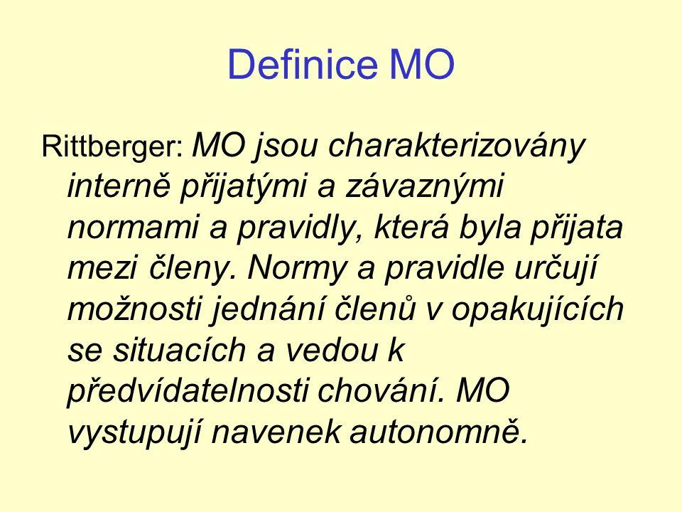 Definice MO Archer: MO jsou formální kontinuální struktury, které jsou vytvořeny na základě dohody mezi členy, a to buď vládními či nevládními zástupci, z minimálně dvou suverénních států s cílem dosáhnout společného zájmu.