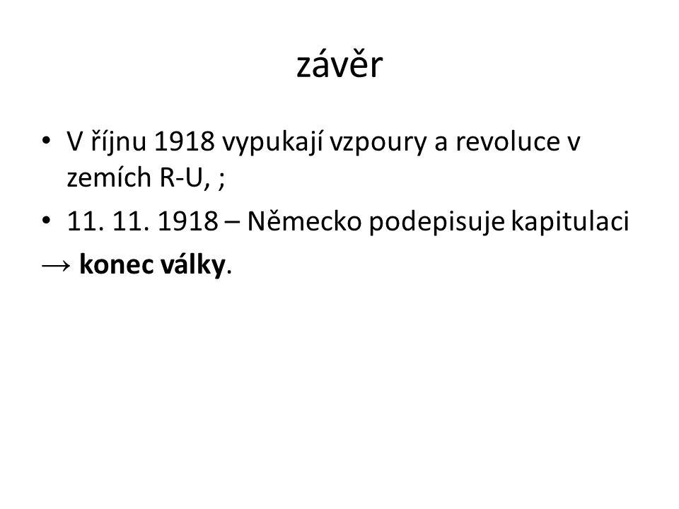 závěr V říjnu 1918 vypukají vzpoury a revoluce v zemích R-U, ; 11.