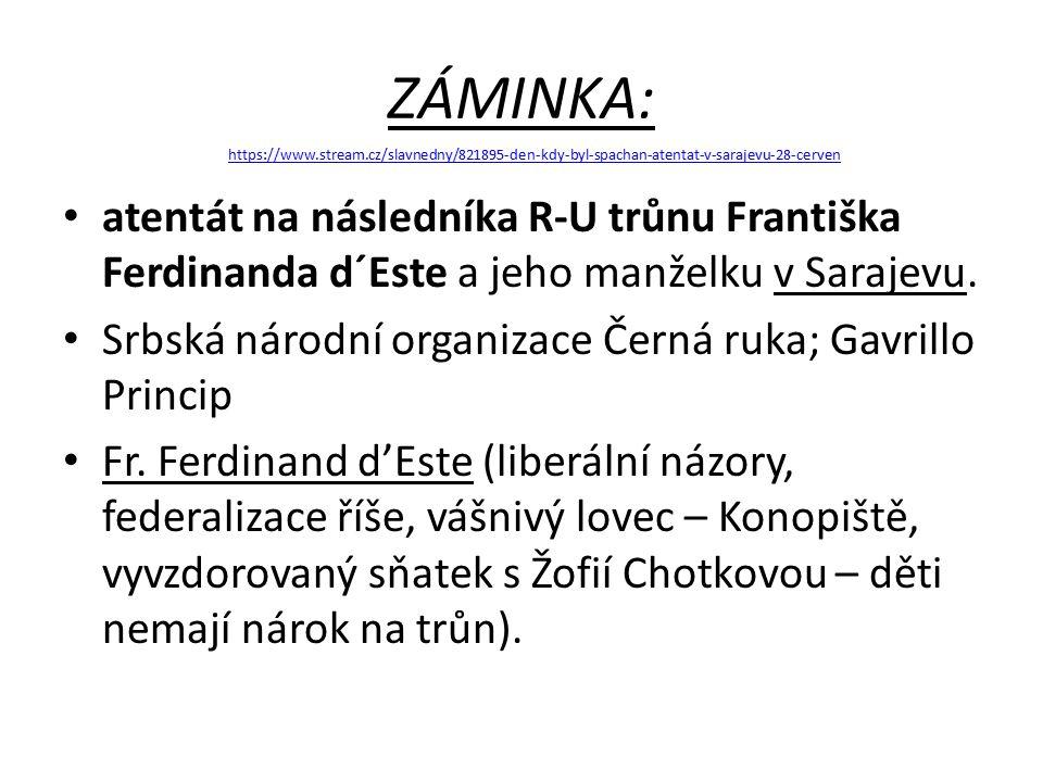 ZÁMINKA: atentát na následníka R-U trůnu Františka Ferdinanda d´Este a jeho manželku v Sarajevu.
