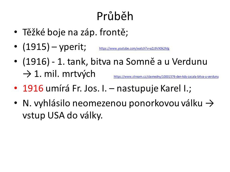 Průběh Těžké boje na záp. frontě; (1915) – yperit; (1916) - 1.