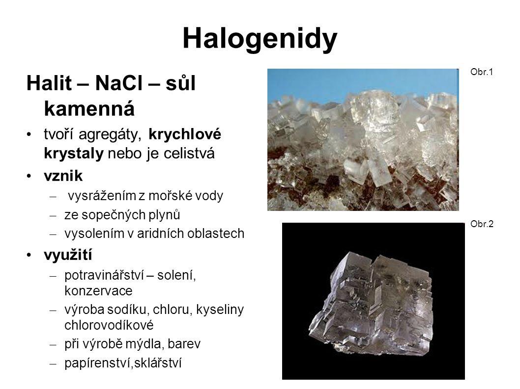 Halogenidy Halit – NaCl – sůl kamenná tvoří agregáty, krychlové krystaly nebo je celistvá vznik – vysrážením z mořské vody – ze sopečných plynů – vysolením v aridních oblastech využití – potravinářství – solení, konzervace – výroba sodíku, chloru, kyseliny chlorovodíkové – při výrobě mýdla, barev – papírenství,sklářství Obr.1 Obr.2