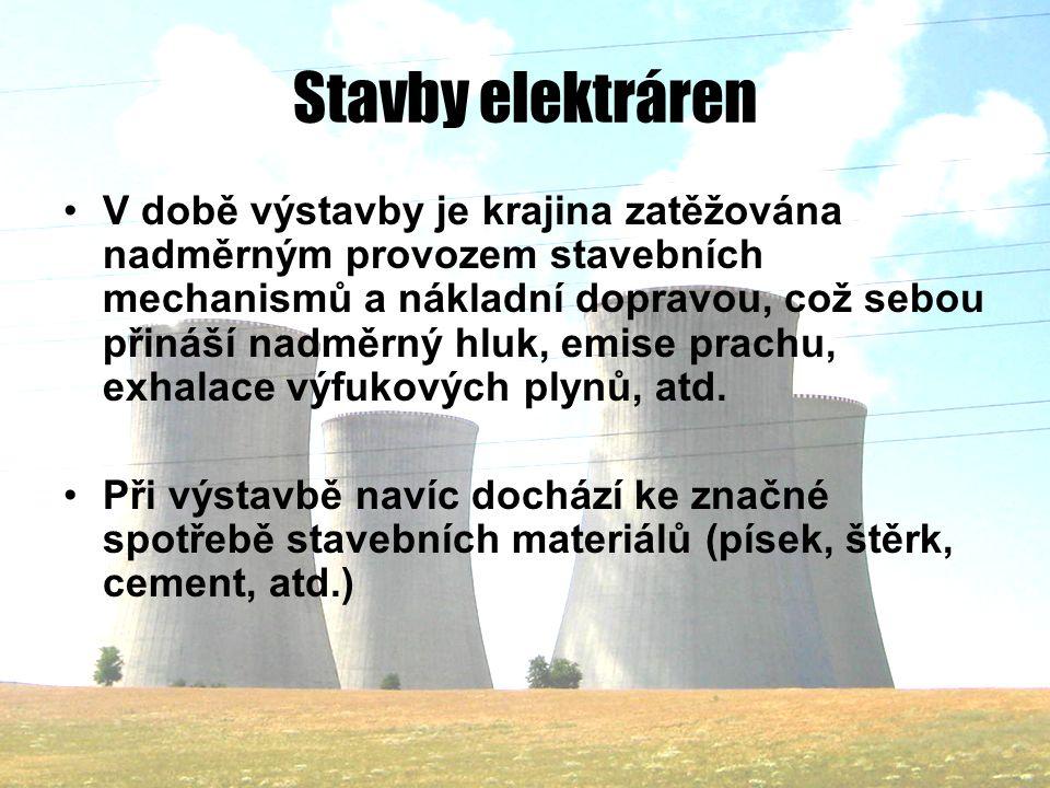 Stavby elektráren V době výstavby je krajina zatěžována nadměrným provozem stavebních mechanismů a nákladní dopravou, což sebou přináší nadměrný hluk, emise prachu, exhalace výfukových plynů, atd.