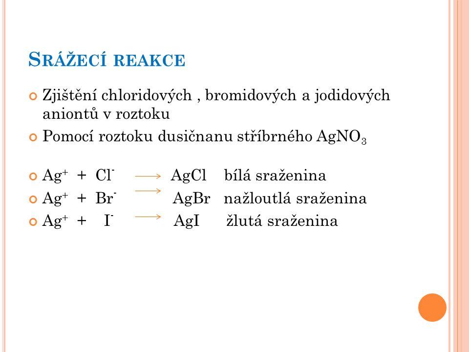 S RÁŽECÍ REAKCE Zjištění chloridových, bromidových a jodidových aniontů v roztoku Pomocí roztoku dusičnanu stříbrného AgNO 3 Ag + + Cl - AgCl bílá sraženina Ag + + Br - AgBr nažloutlá sraženina Ag + + I - AgI žlutá sraženina