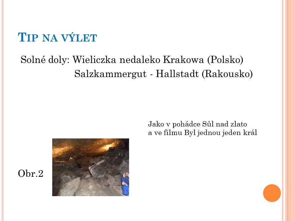 T IP NA VÝLET Solné doly: Wieliczka nedaleko Krakowa (Polsko) Salzkammergut - Hallstadt (Rakousko) Obr.2 Jako v pohádce Sůl nad zlato a ve filmu Byl jednou jeden král