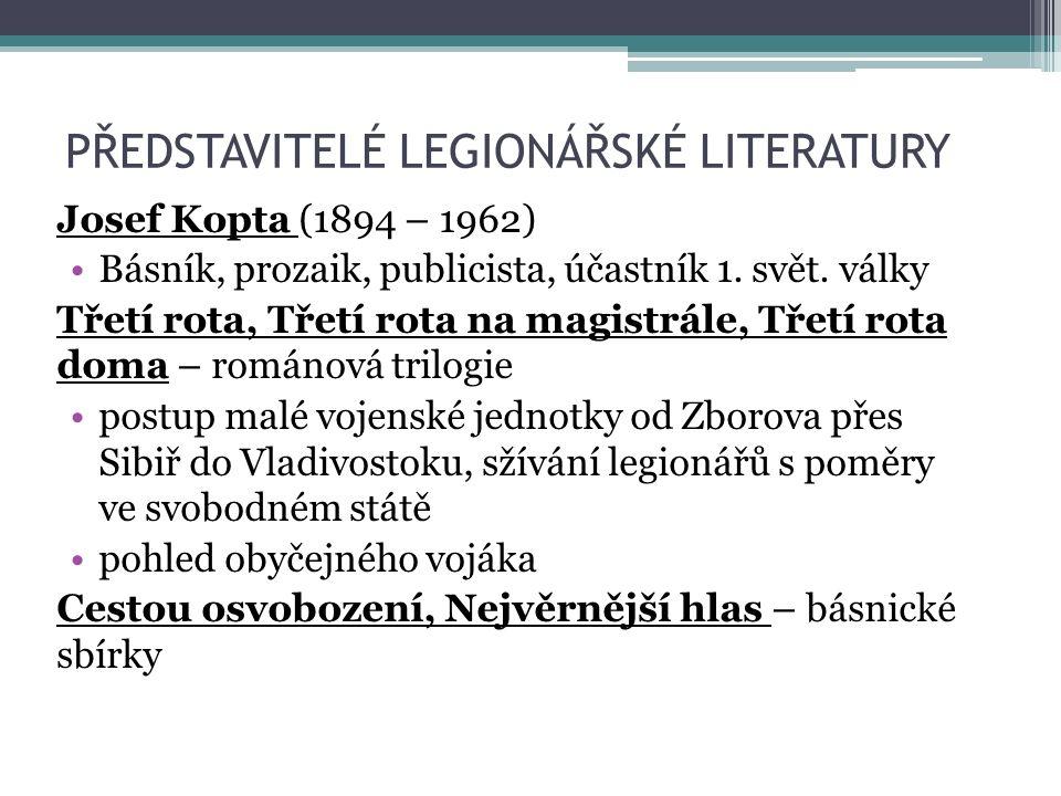 PŘEDSTAVITELÉ LEGIONÁŘSKÉ LITERATURY Josef Kopta (1894 – 1962) Básník, prozaik, publicista, účastník 1.