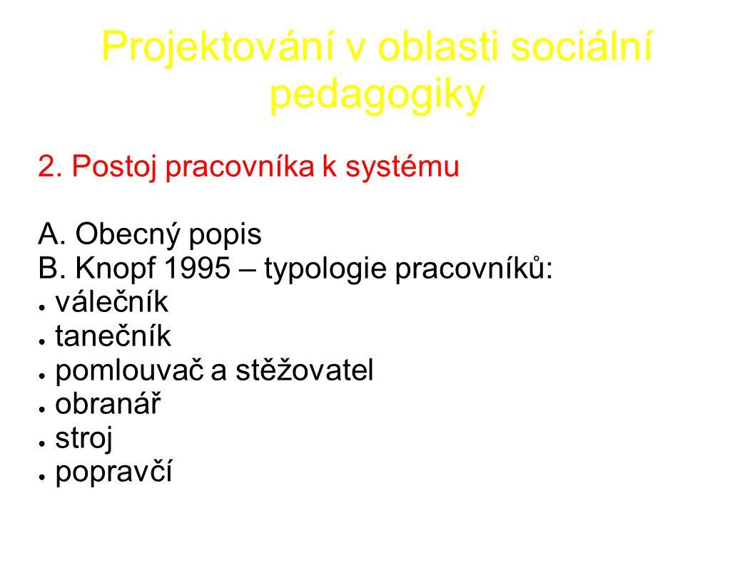 Projektování v oblasti sociální pedagogiky 2. Postoj pracovníka k systému A.