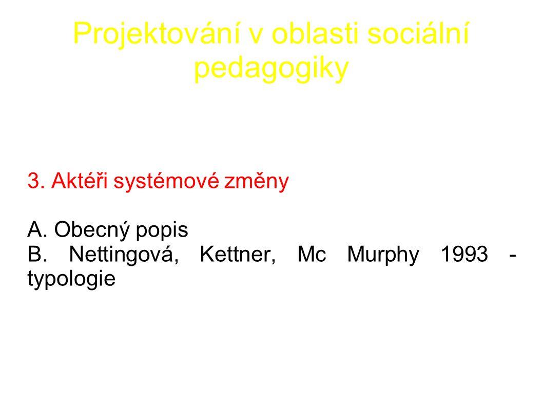 Projektování v oblasti sociální pedagogiky 3. Aktéři systémové změny A.
