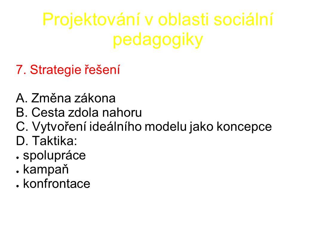 Projektování v oblasti sociální pedagogiky 7. Strategie řešení A.