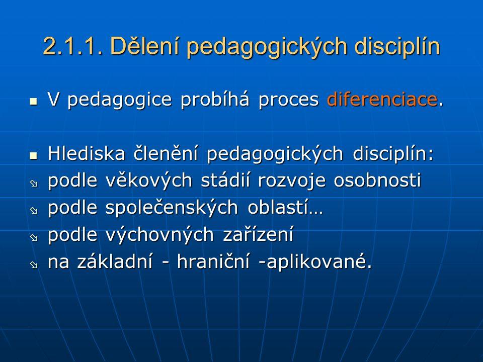 2.1.1. Dělení pedagogických disciplín V pedagogice probíhá proces diferenciace.
