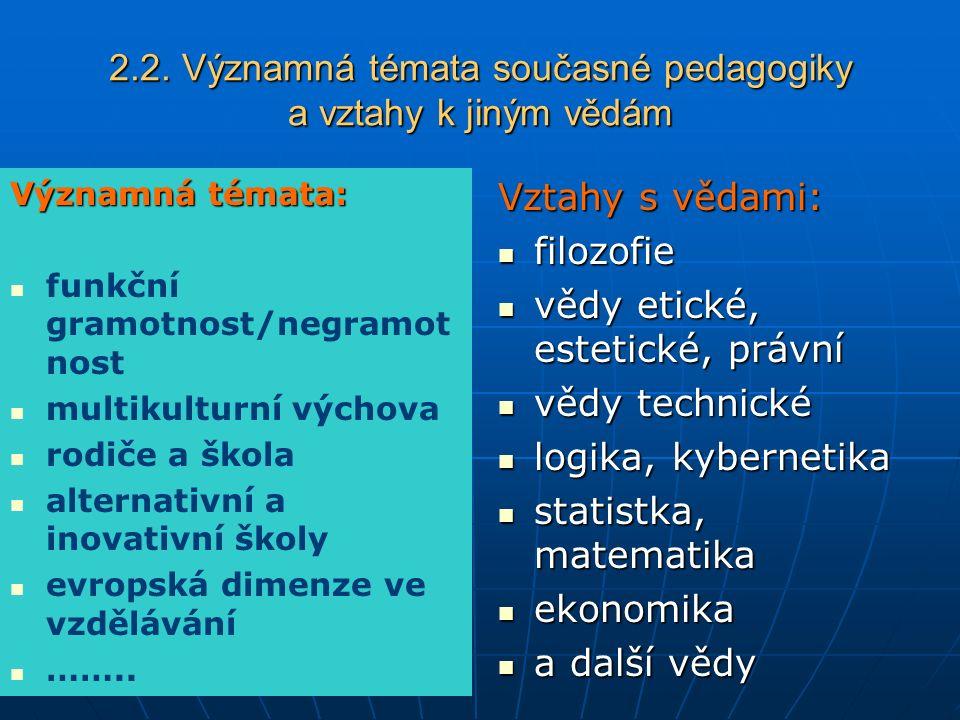 2.2. Významná témata současné pedagogiky a vztahy k jiným vědám Významná témata: funkční gramotnost/negramot nost multikulturní výchova rodiče a škola