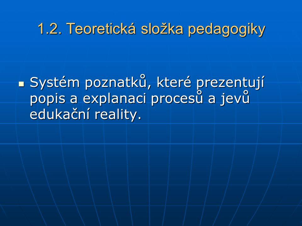 1.2. Teoretická složka pedagogiky Systém poznatků, které prezentují popis a explanaci procesů a jevů edukační reality. Systém poznatků, které prezentu