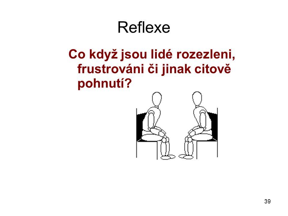 39 Reflexe Co když jsou lidé rozezleni, frustrováni či jinak citově pohnutí.