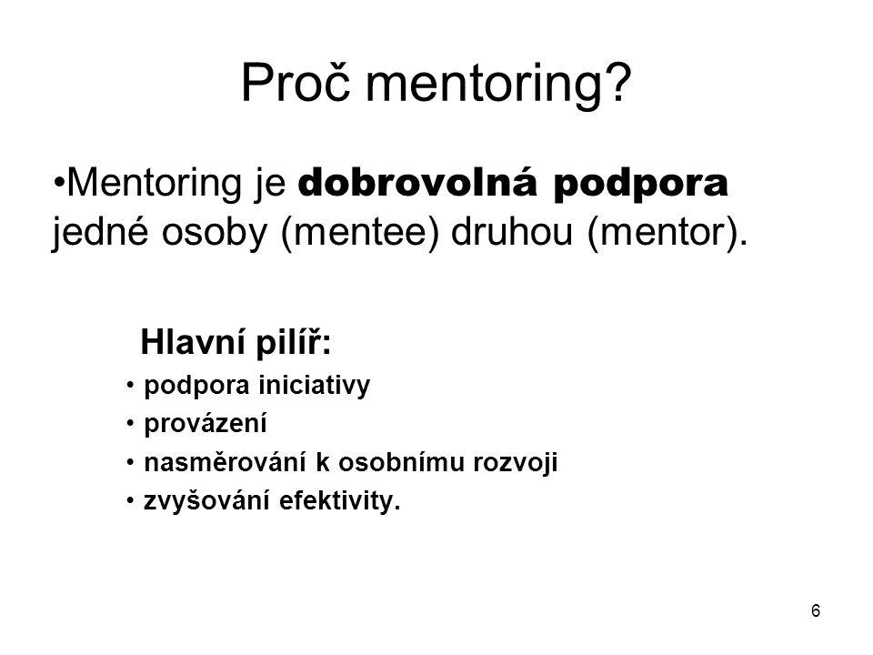 6 Proč mentoring. Mentoring je dobrovolná podpora jedné osoby (mentee) druhou (mentor).