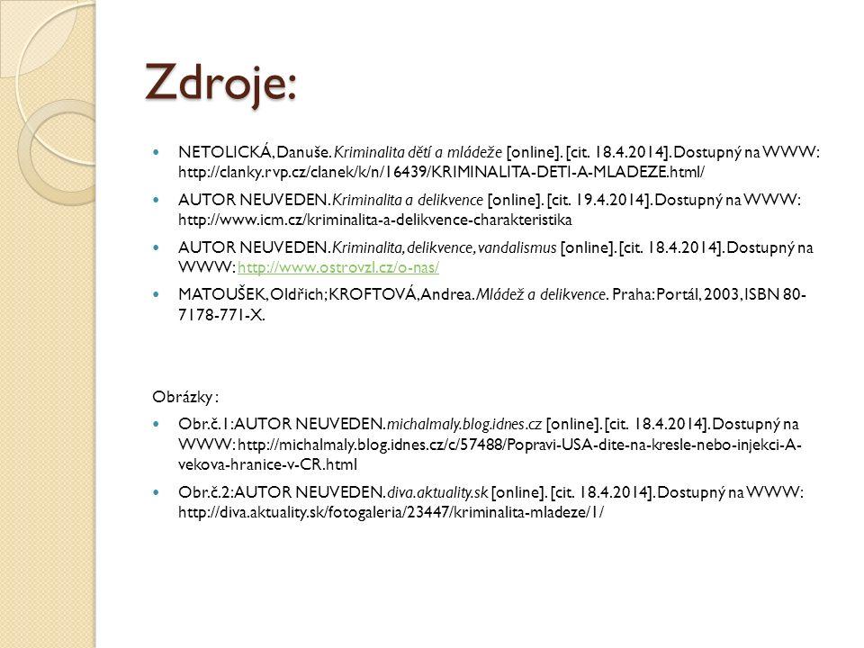 Zdroje: NETOLICKÁ, Danuše. Kriminalita dětí a mládeže [online]. [cit. 18.4.2014]. Dostupný na WWW: http://clanky.rvp.cz/clanek/k/n/16439/KRIMINALITA-D