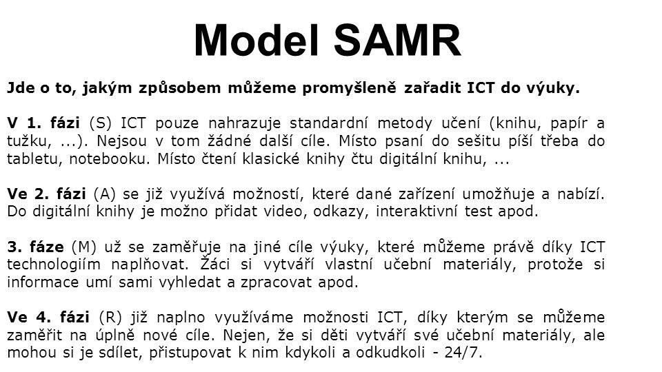 Model SAMR Jde o to, jakým způsobem můžeme promyšleně zařadit ICT do výuky.