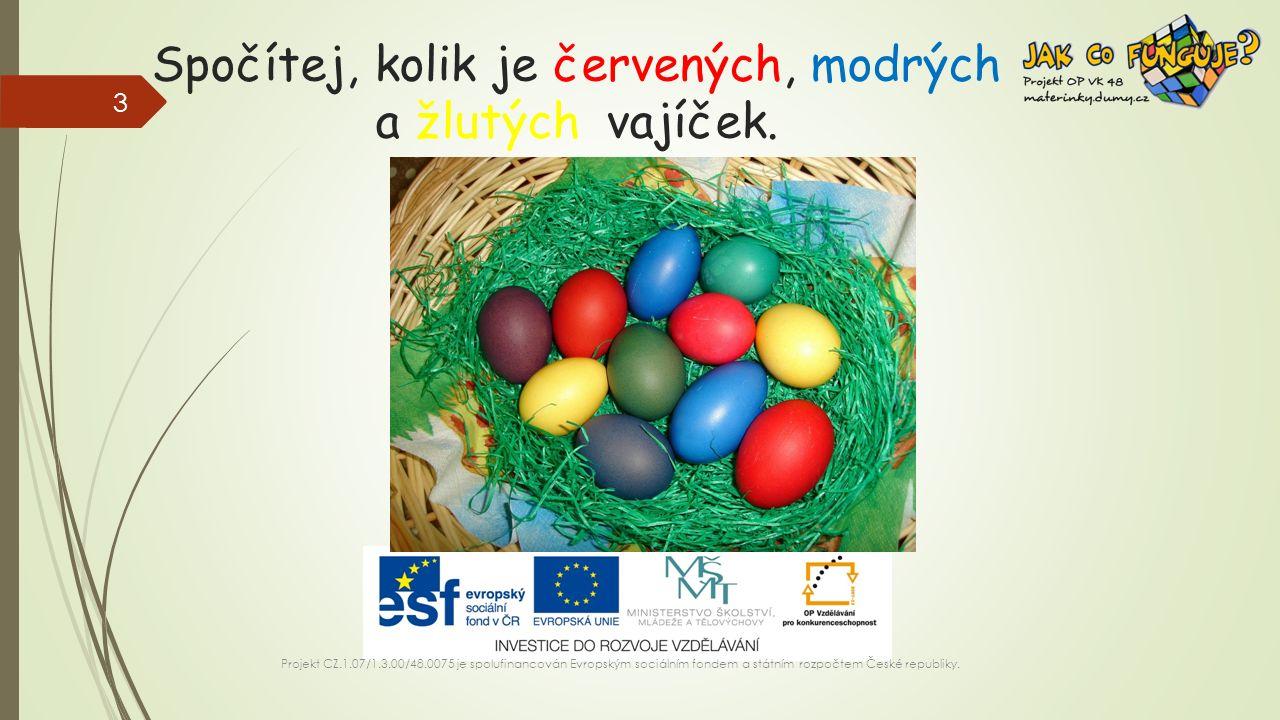 Spočítej, kolik je červených, modrých a žlutých vajíček.