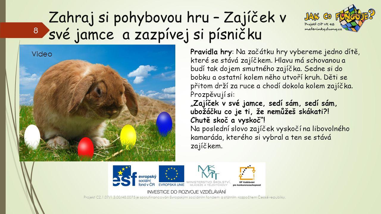 Zahraj si pohybovou hru – Zajíček v své jamce a zazpívej si písničku Projekt CZ.1.07/1.3.00/48.0075 je spolufinancován Evropským sociálním fondem a státním rozpočtem České republiky.
