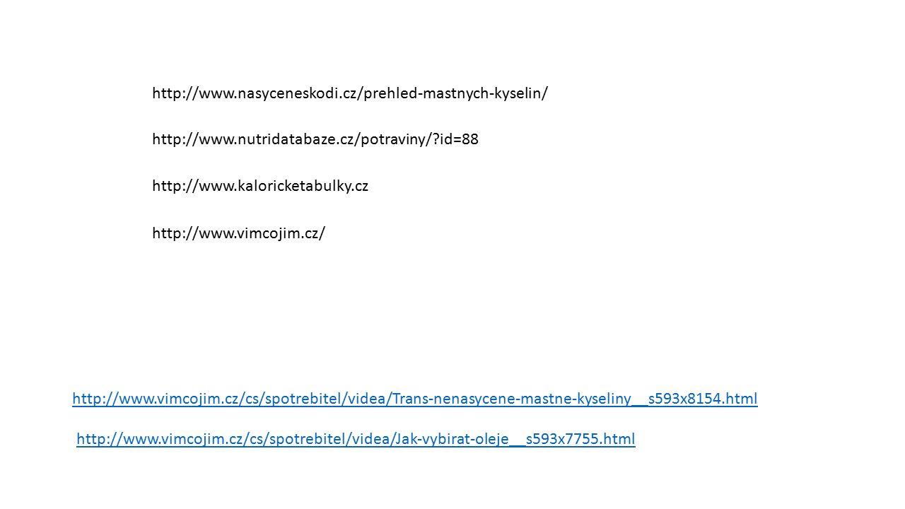 http://www.nasyceneskodi.cz/prehled-mastnych-kyselin/ http://www.nutridatabaze.cz/potraviny/ id=88 http://www.kaloricketabulky.cz http://www.vimcojim.cz/ http://www.vimcojim.cz/cs/spotrebitel/videa/Trans-nenasycene-mastne-kyseliny__s593x8154.html http://www.vimcojim.cz/cs/spotrebitel/videa/Jak-vybirat-oleje__s593x7755.html