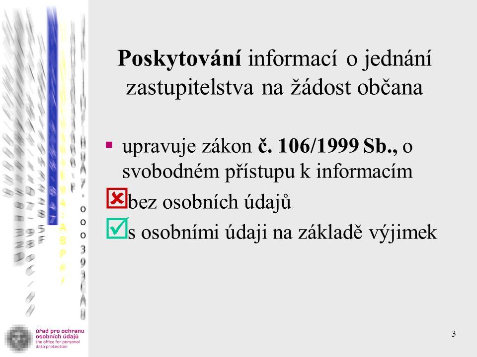 3 Poskytování informací o jednání zastupitelstva na žádost občana  upravuje zákon č.
